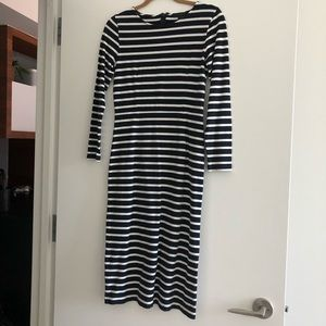 J.Crew Striped Midi Dress Size 2 navy and white
